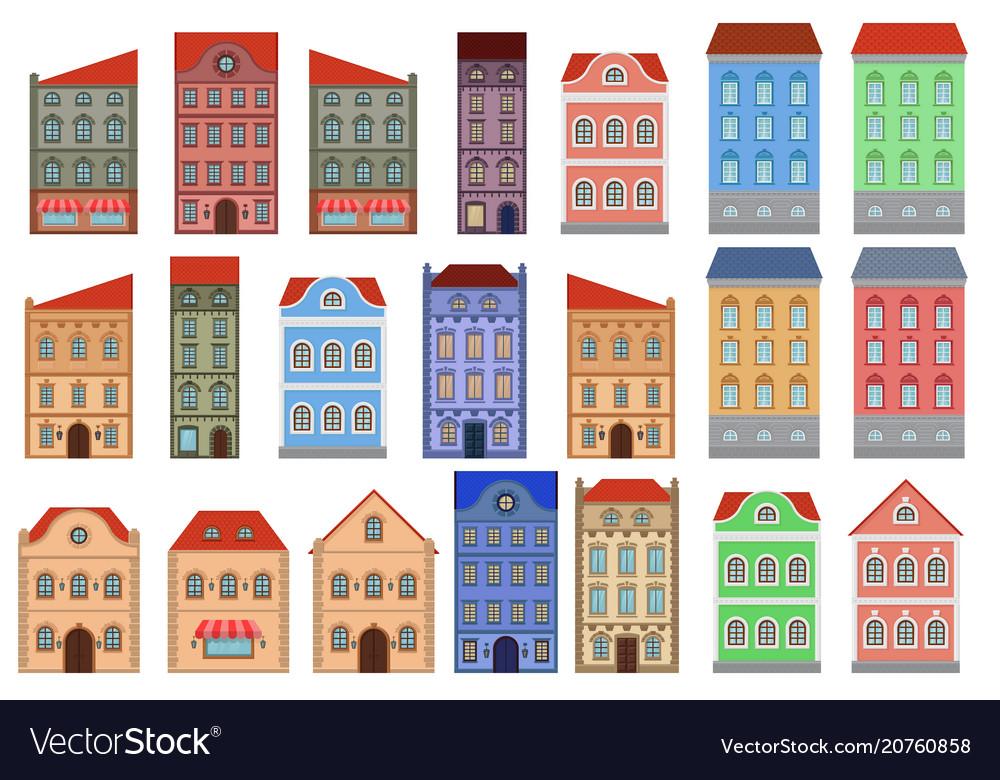 Houses set of european old buildings outline