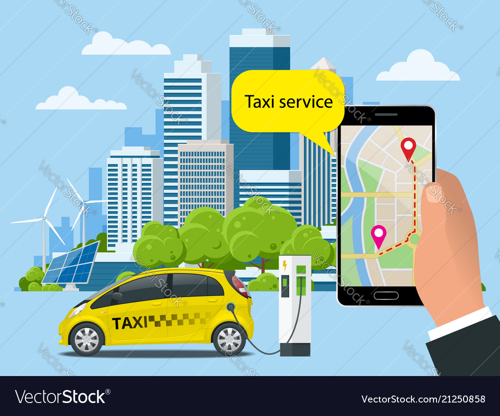 Online taxi-service concept man orders a taxi