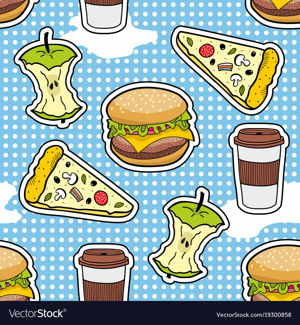 Pop art seamless pattern with fast food