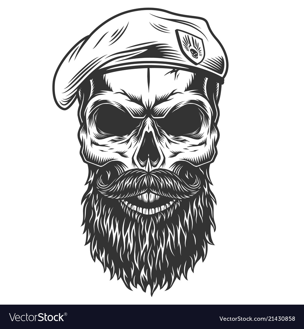 Skull With Beard Royalty Free Vector Image