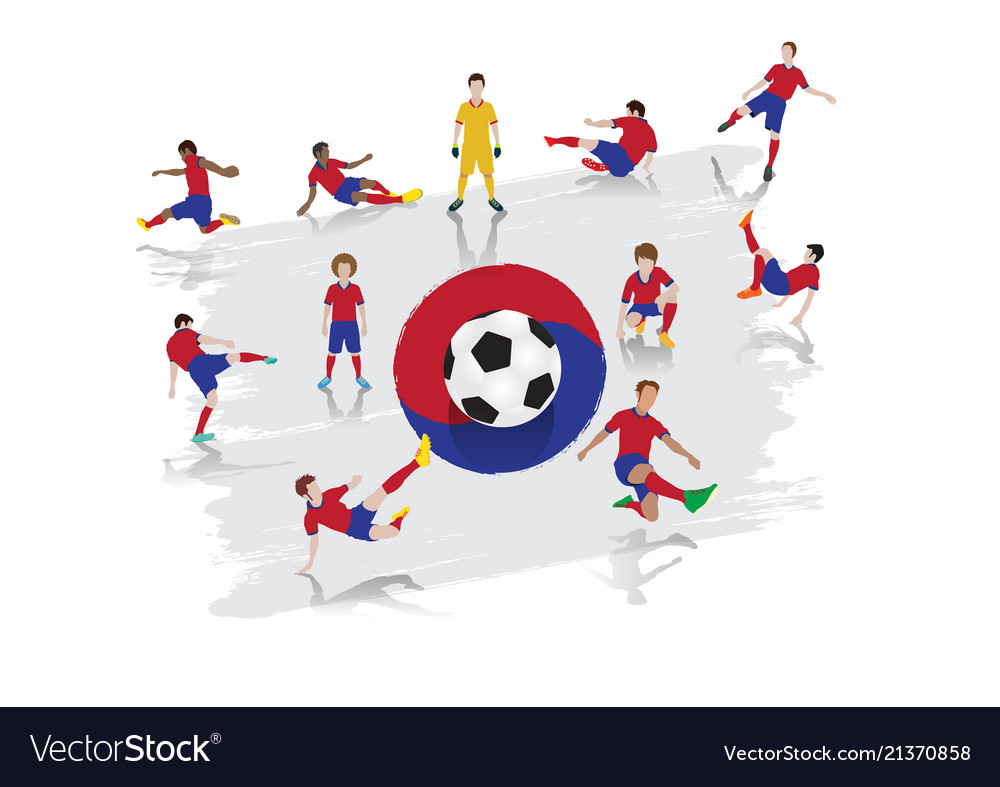 Soccer player team with south korea flag