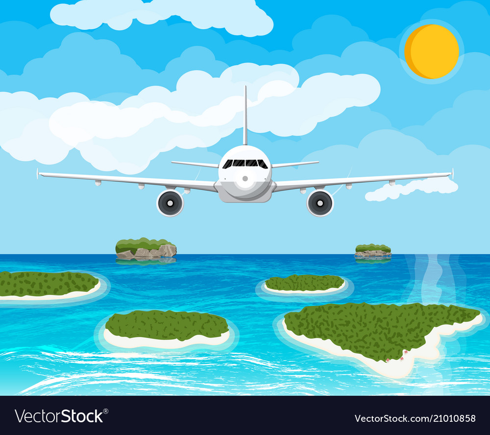 View aircraft in sky tropical islands