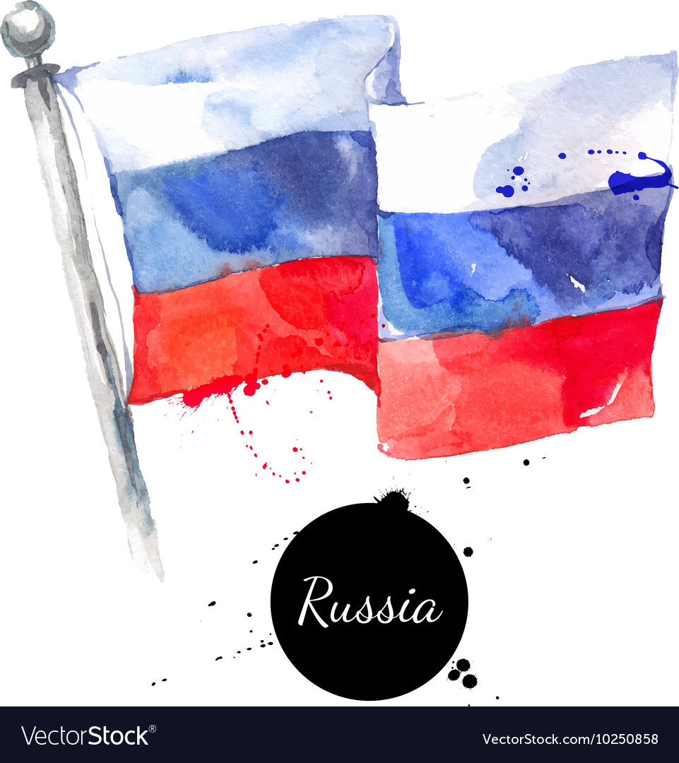 Watercolor Russia flag Hand drawn on white