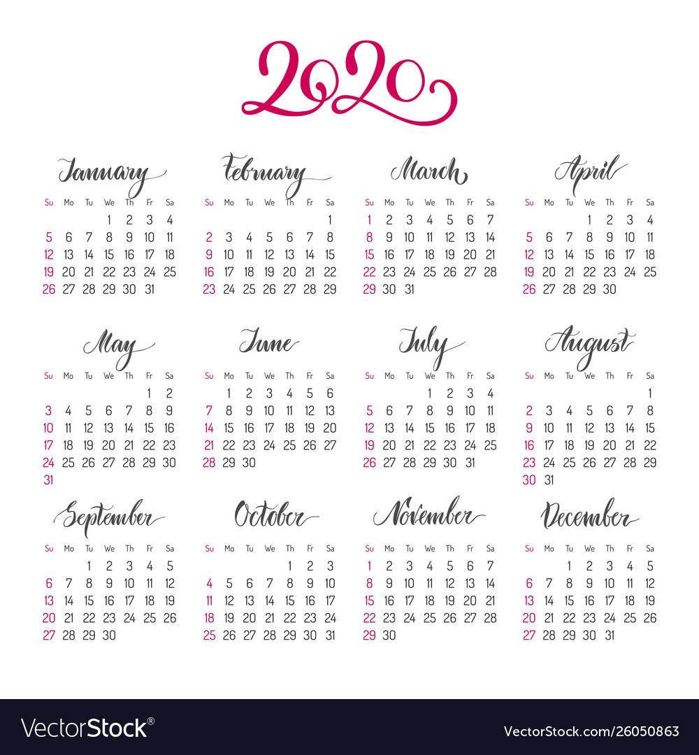 2020 Annual Calendar.Basic Calendar Layout For 2020 Year