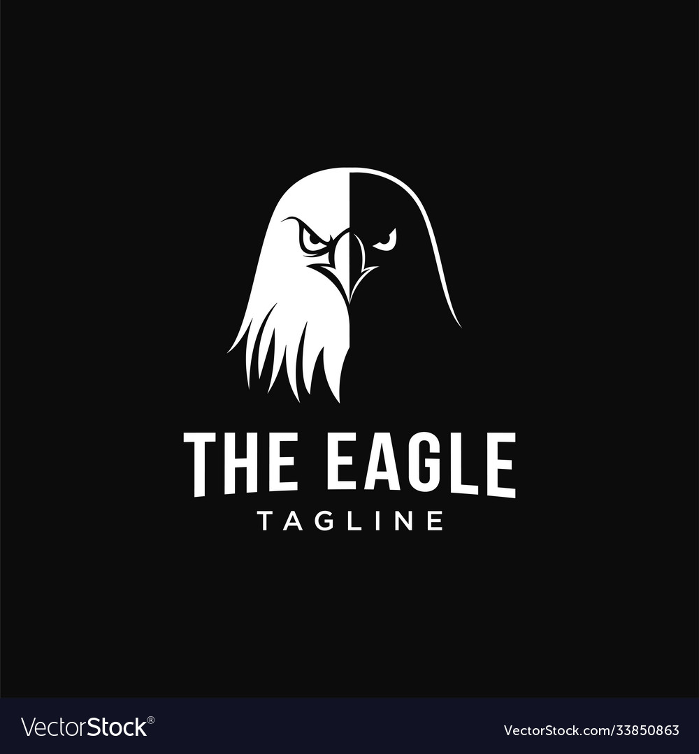 Black and white eagle head logo icon template