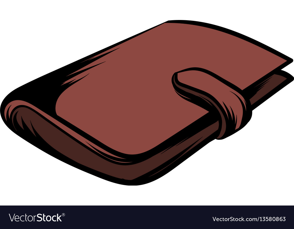 Brown wallet with card and cash icon cartoon