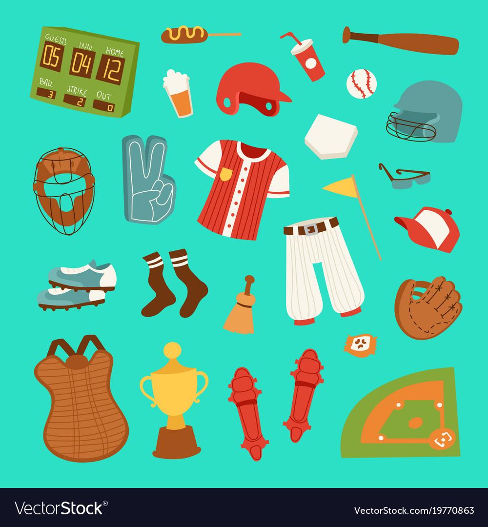 Cartoon baseball game player clothes