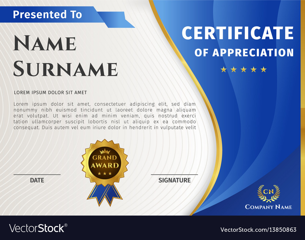 Certificate template with blue and gold vector image