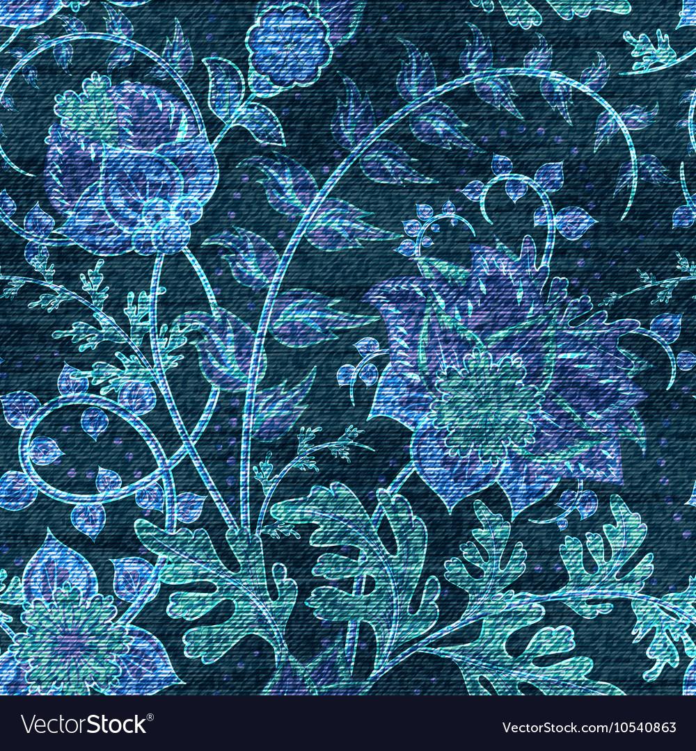 Denim floral seamless pattern Jeans vector image