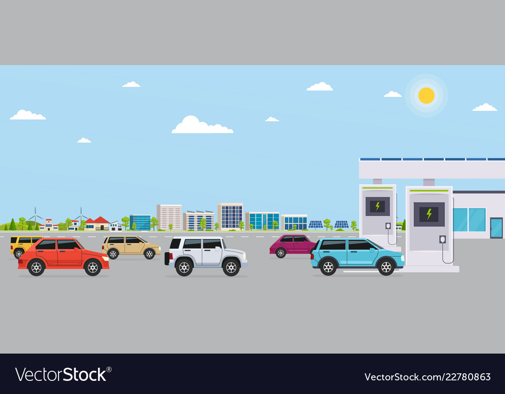 Electro gas station with cars on background eco