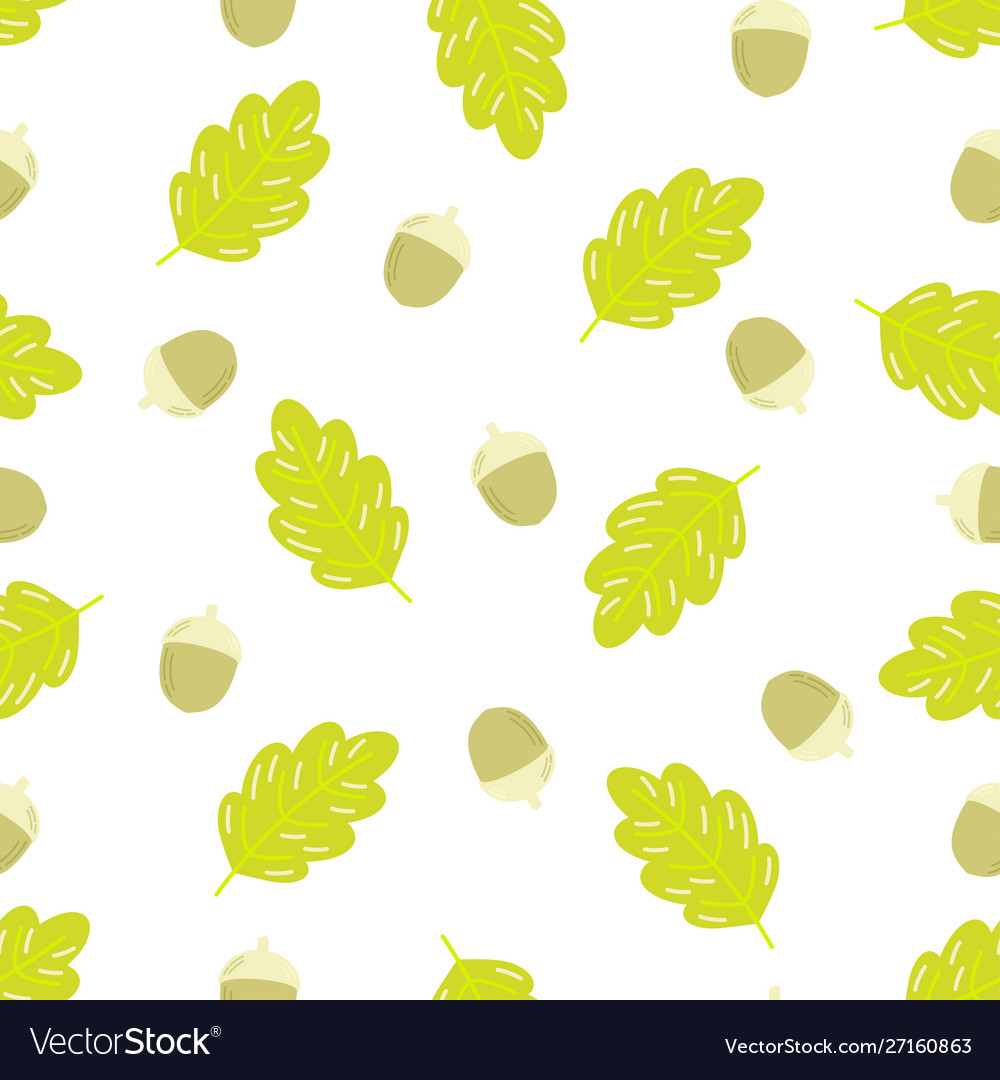 Seamless pattern acorns and oak leaf