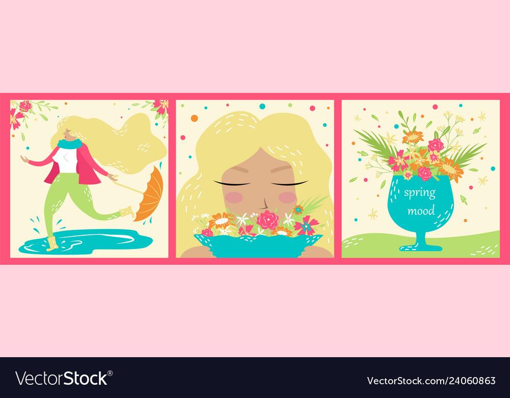 Set of hand-drawn spring postcards springtime