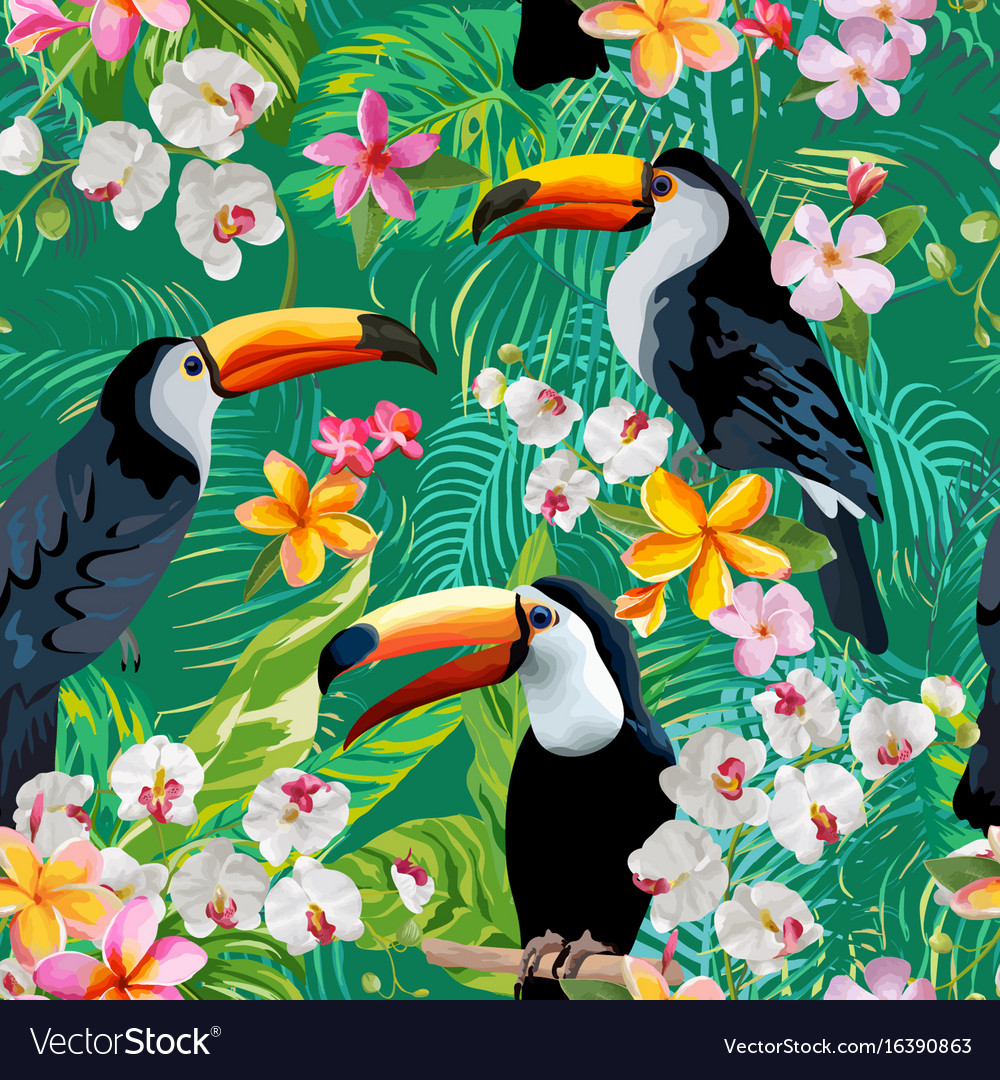 Vintage Style Tropical Bird And Flowers Background: Tropical Flowers And Toucan Birds Background Vector Image