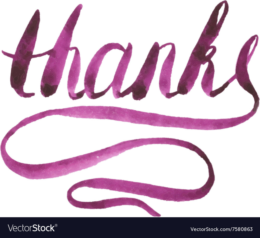 Watercolor Thanks Calligraphy Script vector image