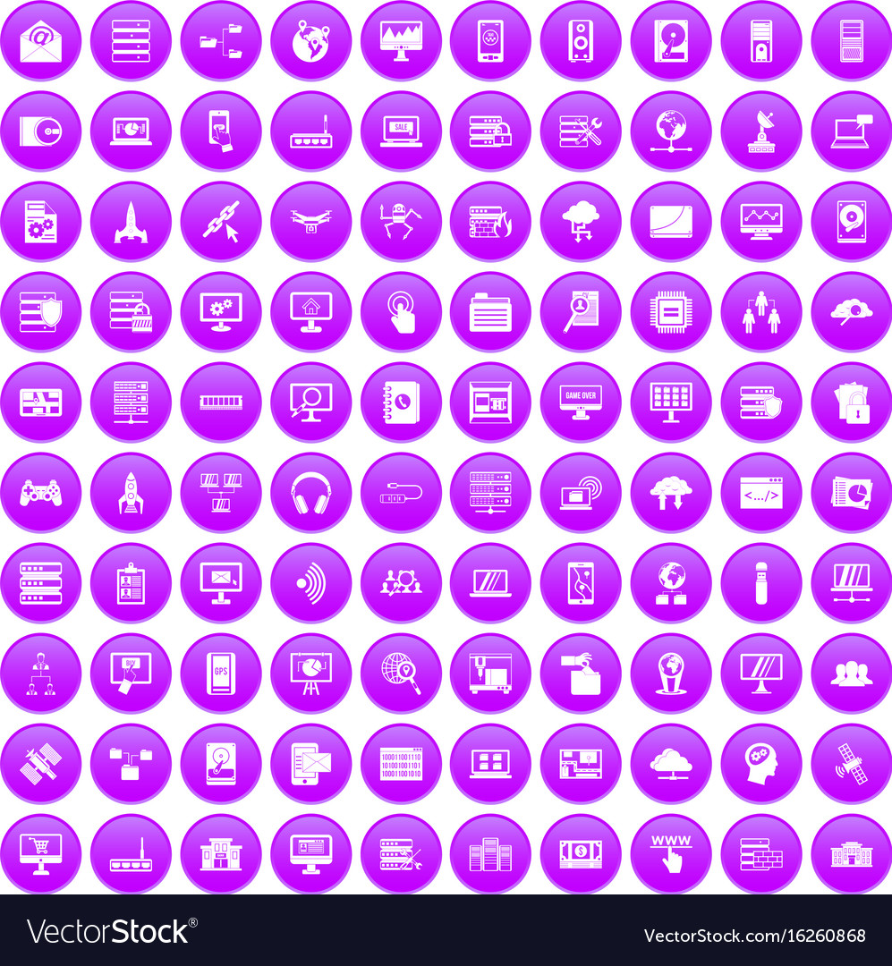 100 database and cloud icons set purple
