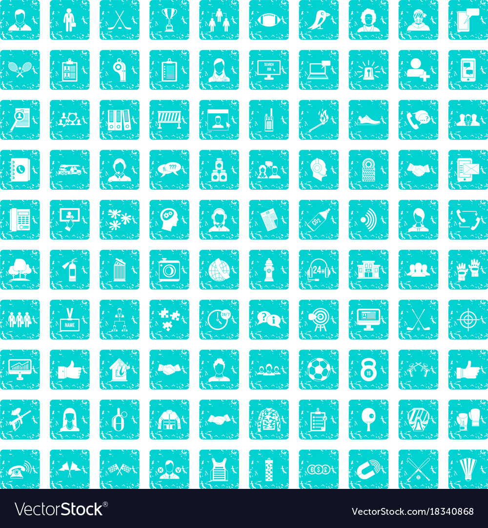 100 team icons set grunge blue