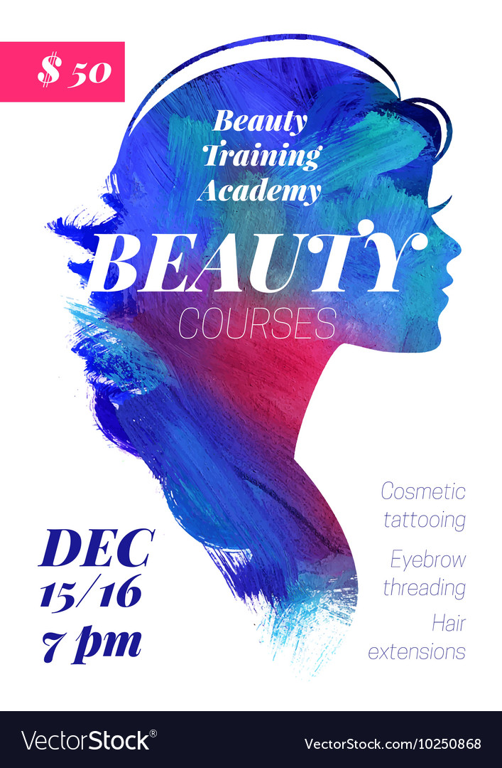 Beauty courses and training poster