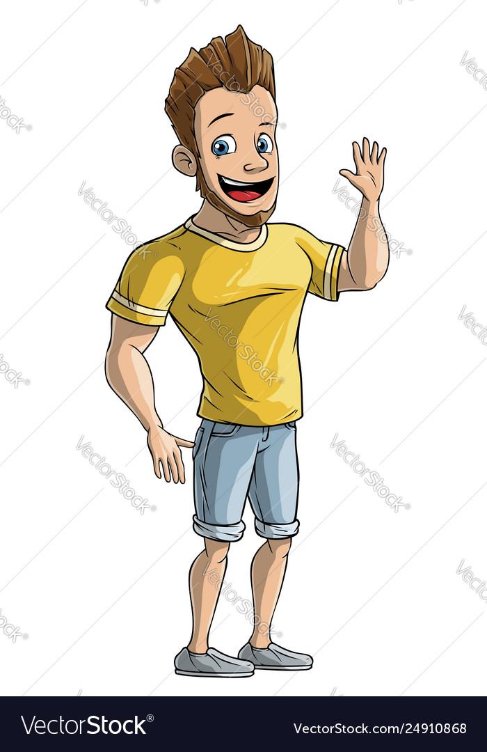 Cartoon standing strong boy character