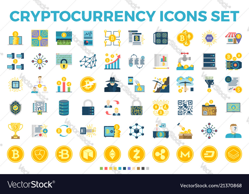 Cryptocurrency and blockchain flat icons