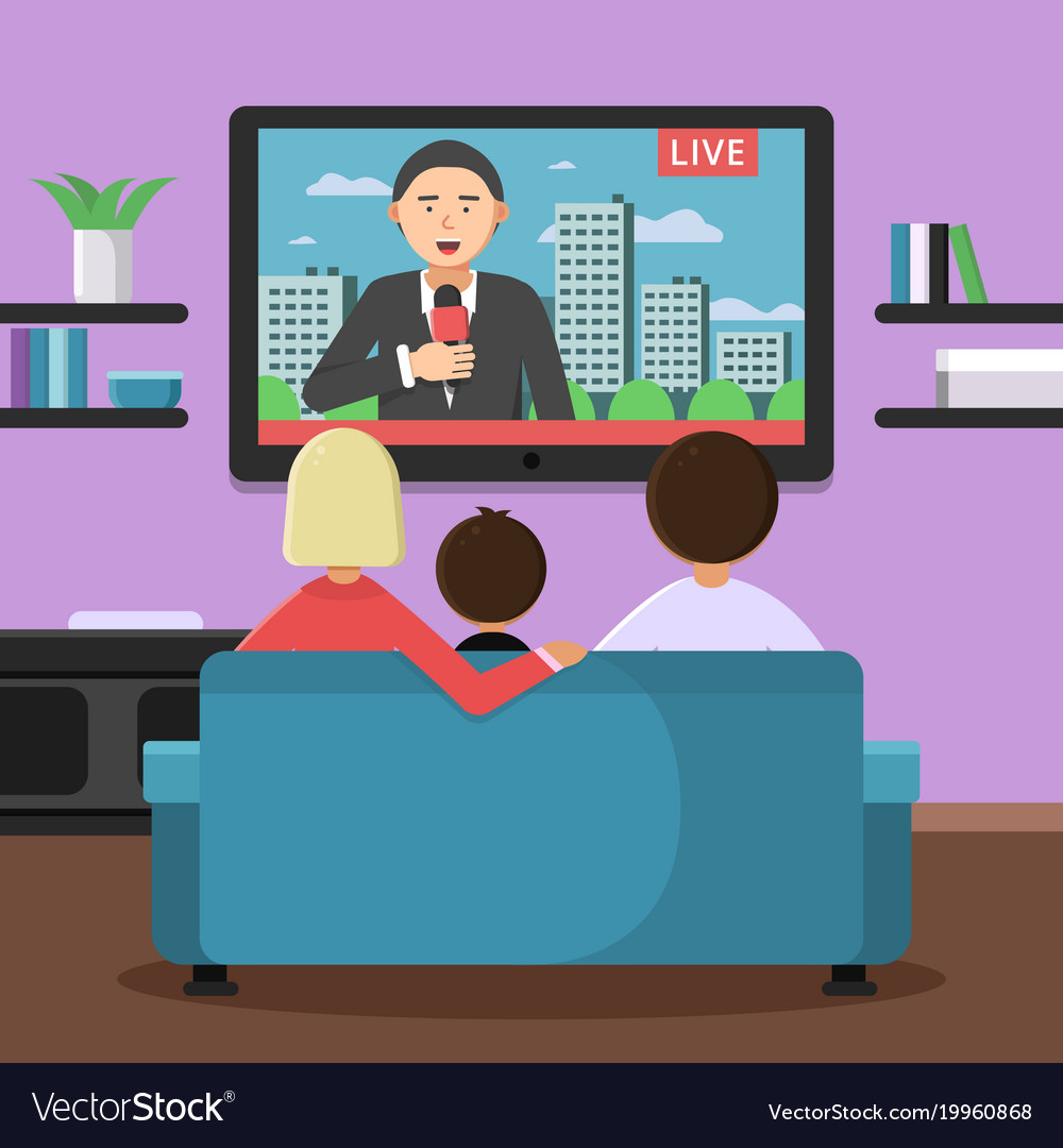 Family couple sitting on sofa and watching news at