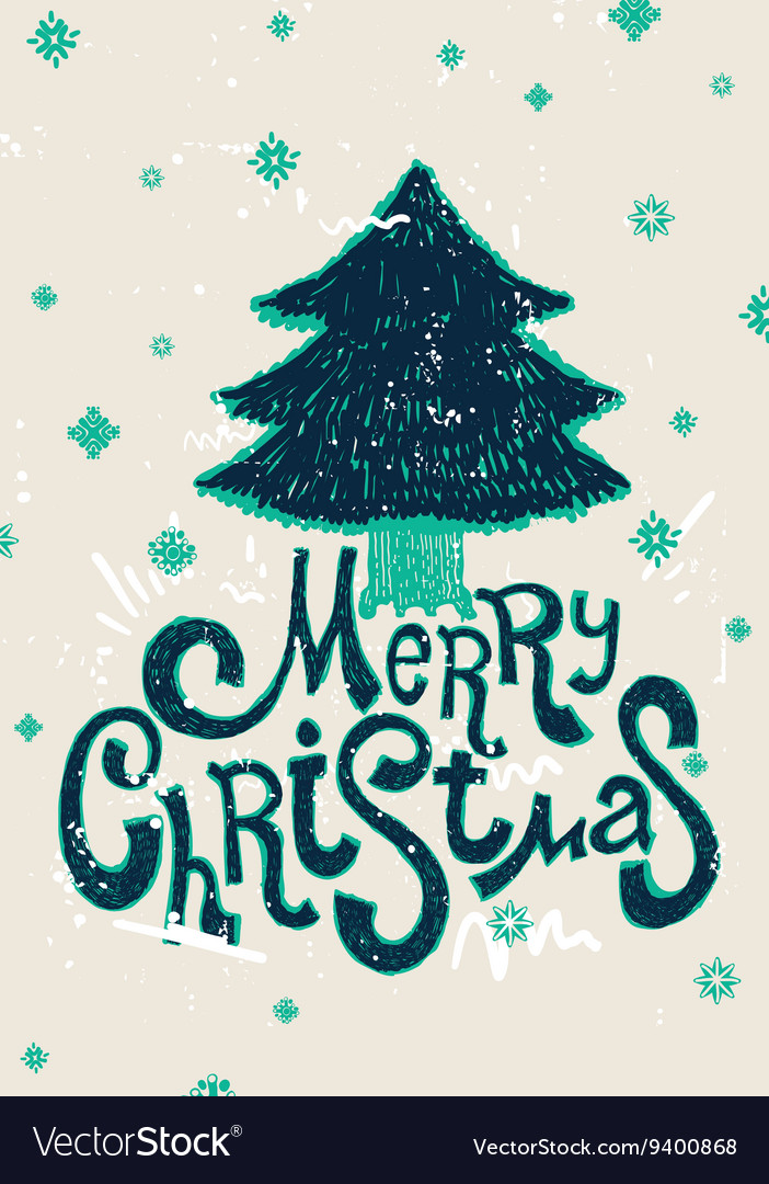Greeting Card Merry Christmas lettering