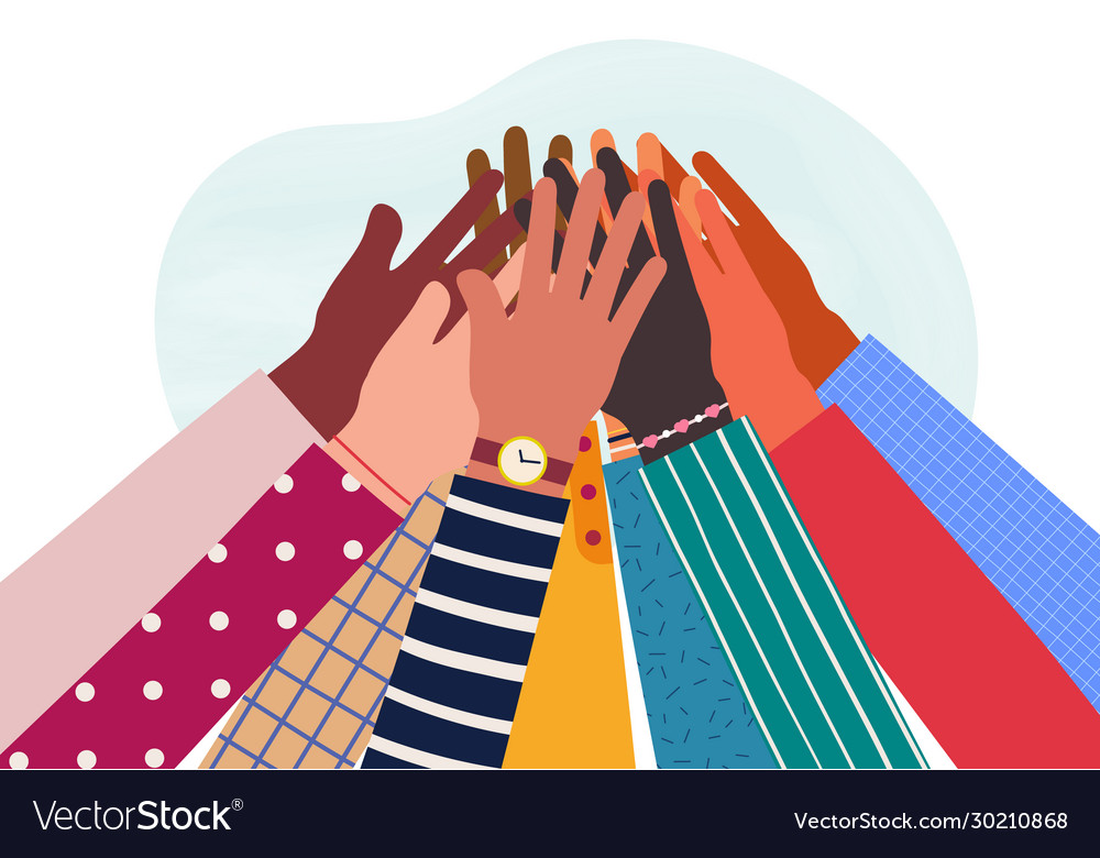 Hands diverse group people together raised