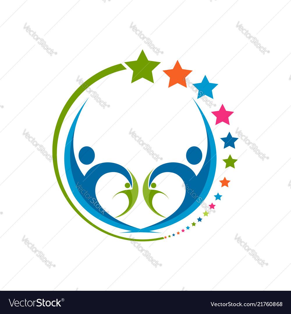 Human star creative logo design star people