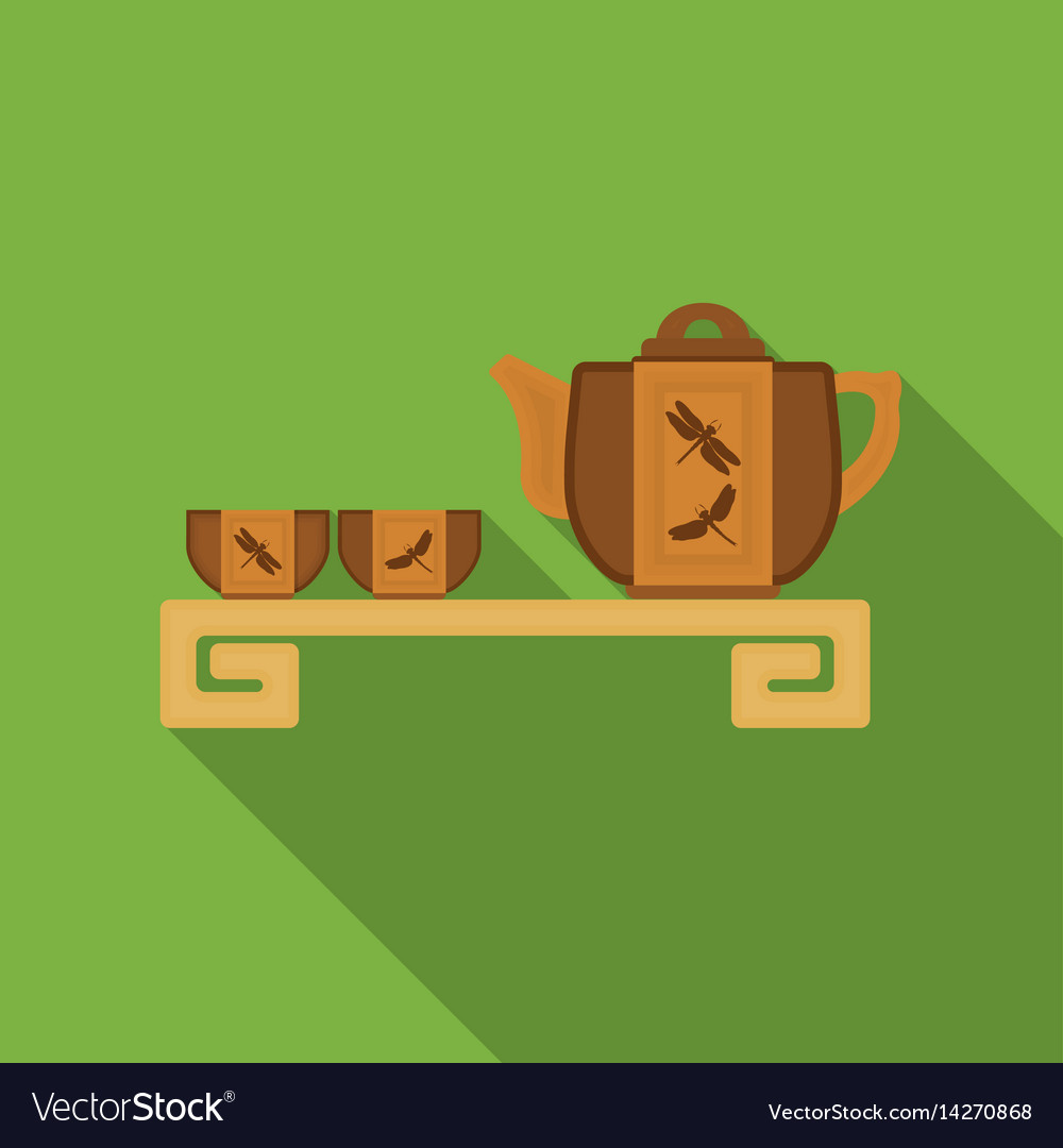 Japanese tea flat icon in flat style isolated on
