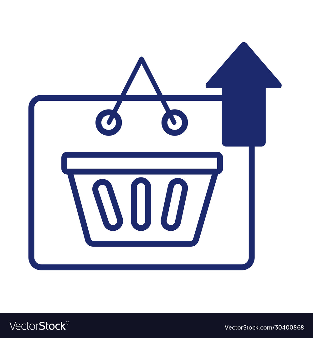 Label with shopping basket and arrow up