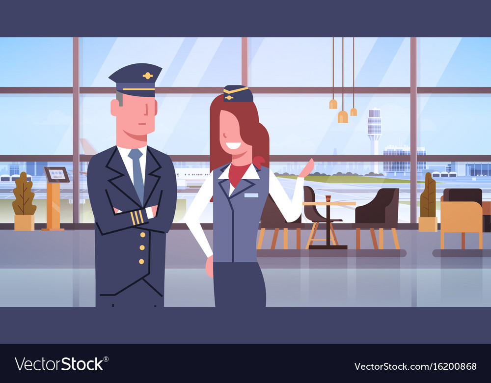 Pilot and stewardess in airport airline crew