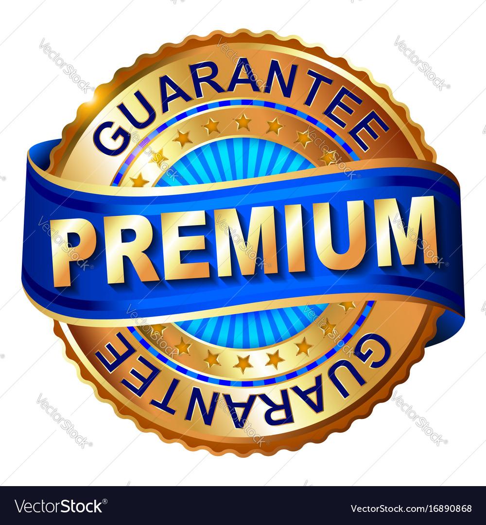 Premium golden label with ribbon