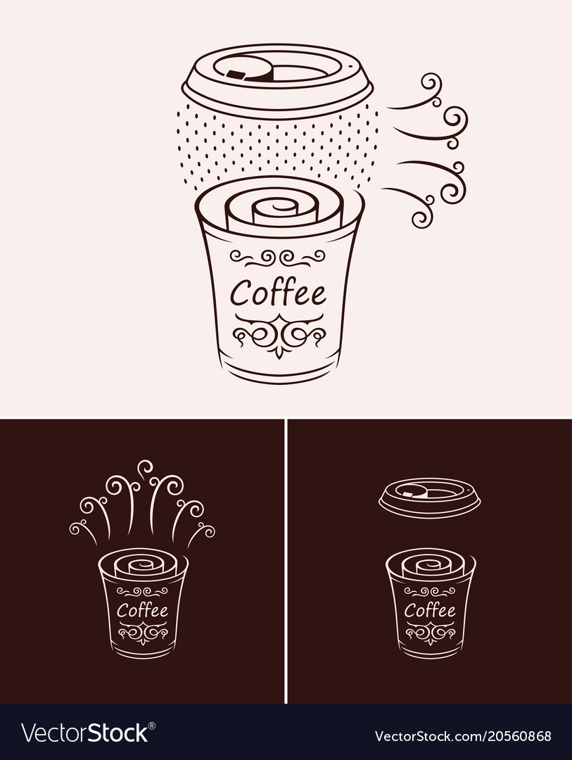 Sketch hand drawn disposable coffee cup