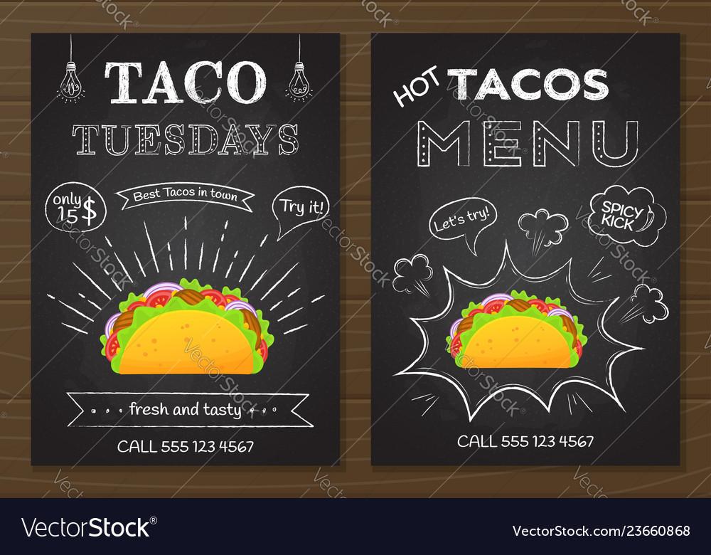 Traditional mexican fastfood chalk board taco menu