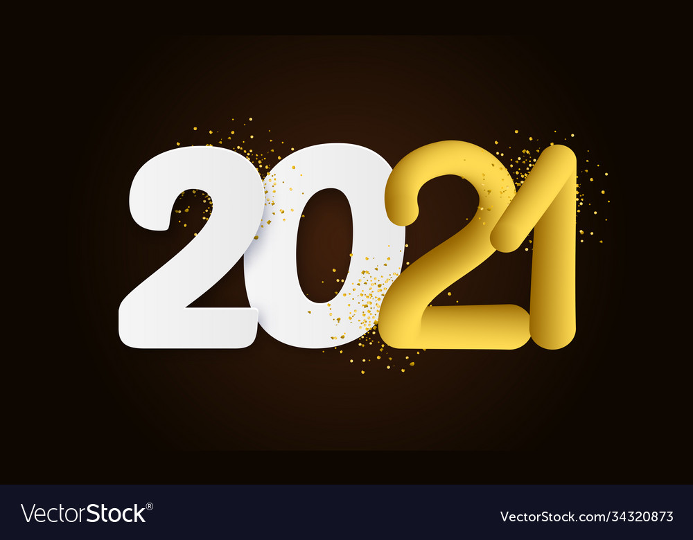2021 happy new year hand drawn text lettering