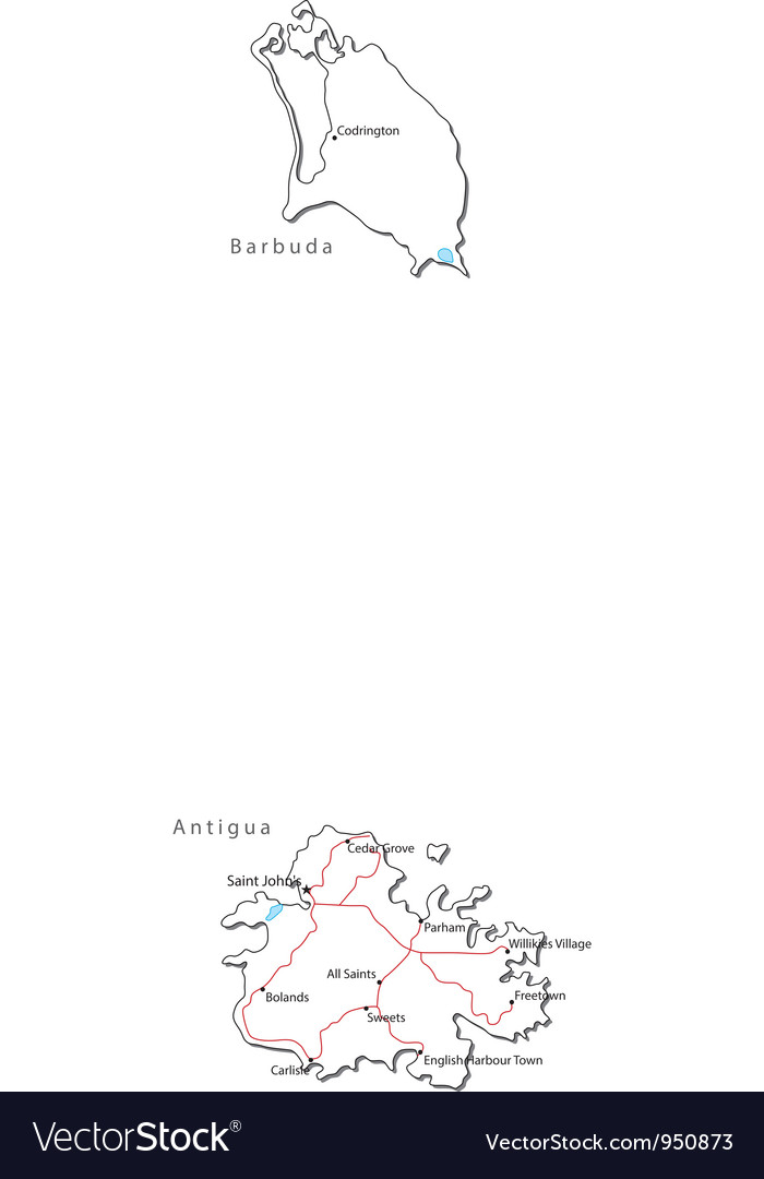 Antigua Barbuda Black White Map Royalty Free Vector Image