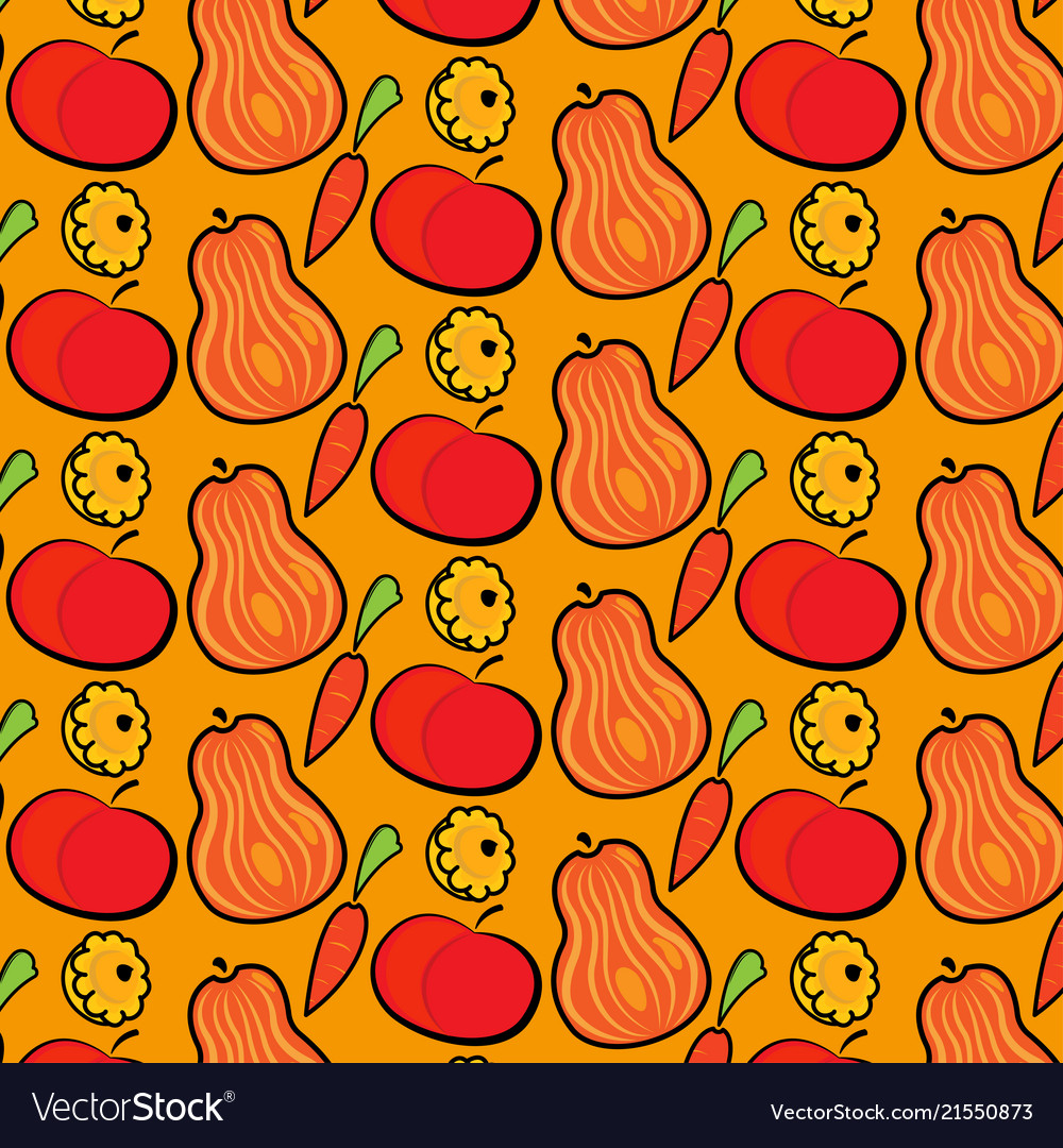 Autumn pattern with pumpkins apples and carrots
