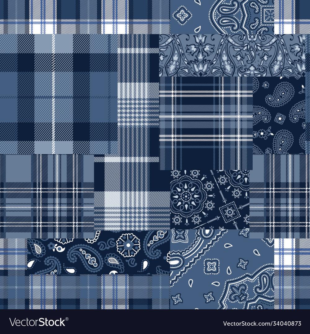 Bandana motifs and tartan plaid fabric patchwork