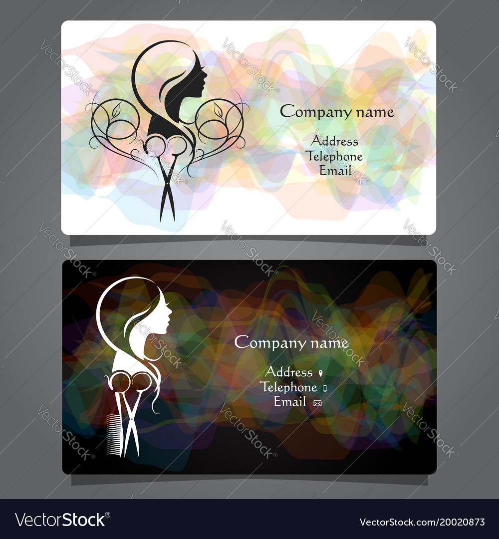 Business card beauty salon and hairdresser Vector Image