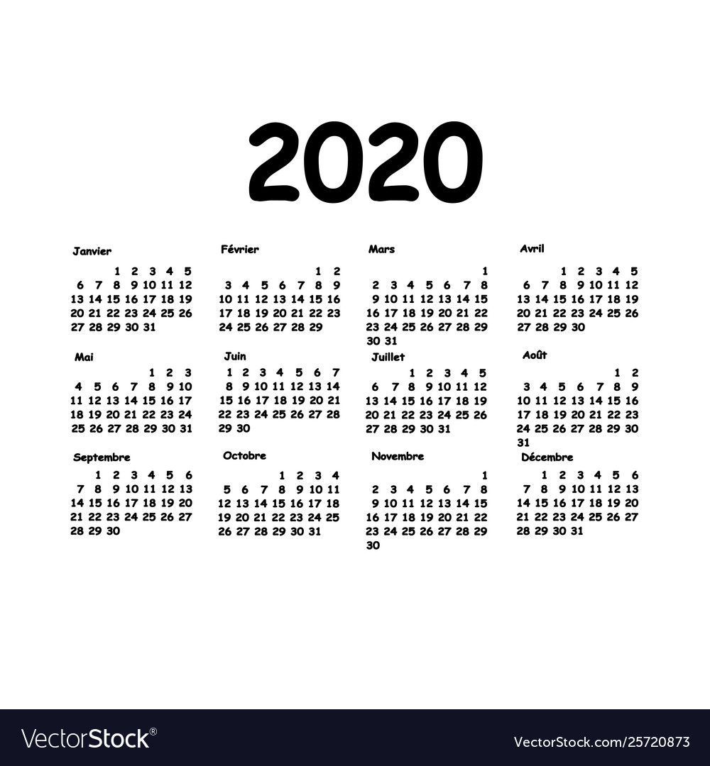 Calendrier 2020 Pinterest.Calendar 2020 Grid French Language Monthly Vector Image