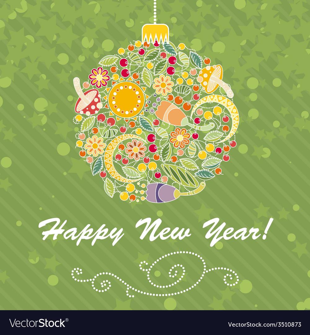 Card with Intricate Christmas Tree Ball