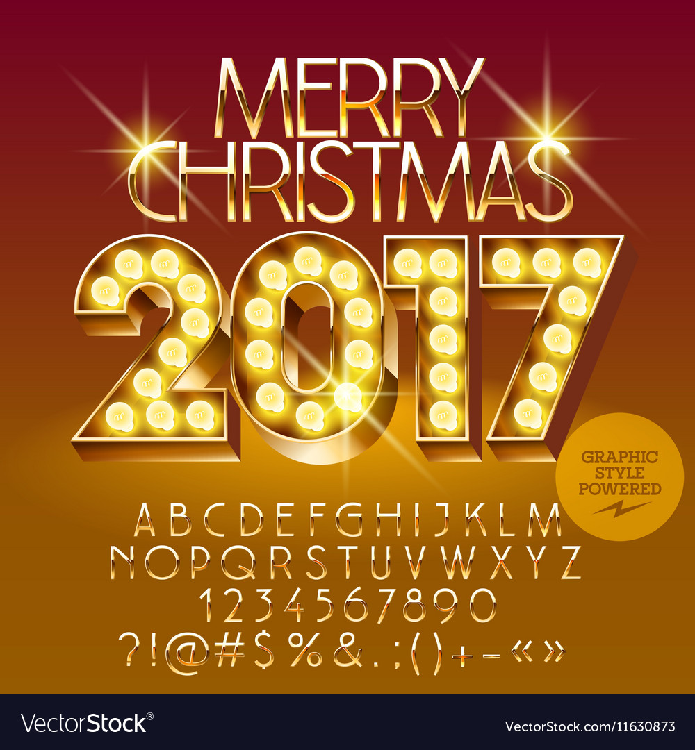 Chic light up merry christmas 2017 greeting card vector image m4hsunfo