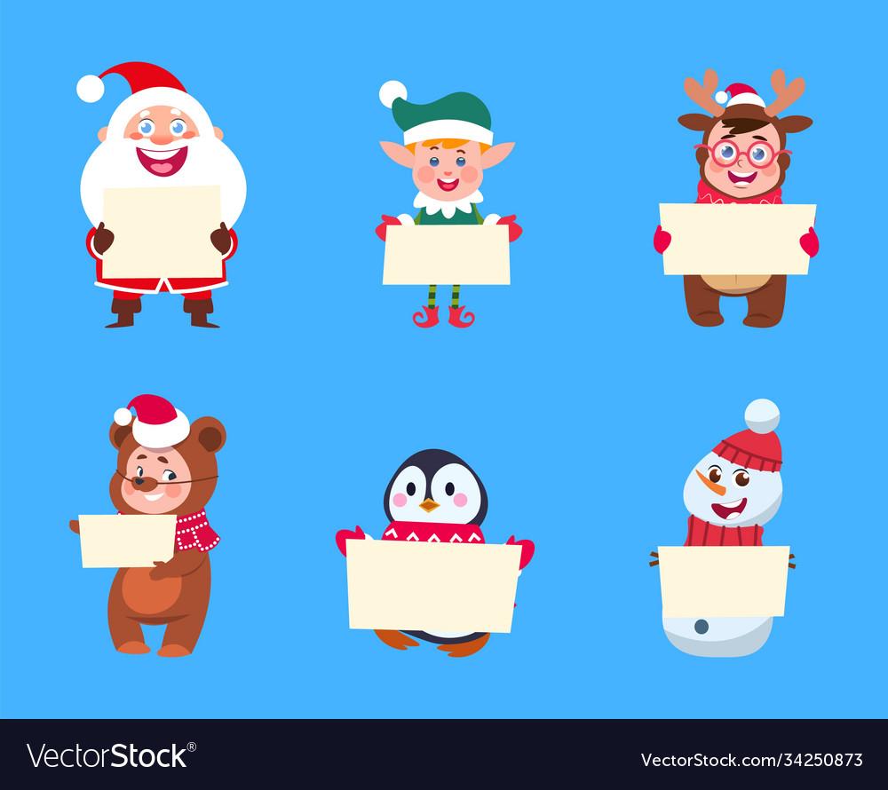 Christmas characters santa claus elf snowman