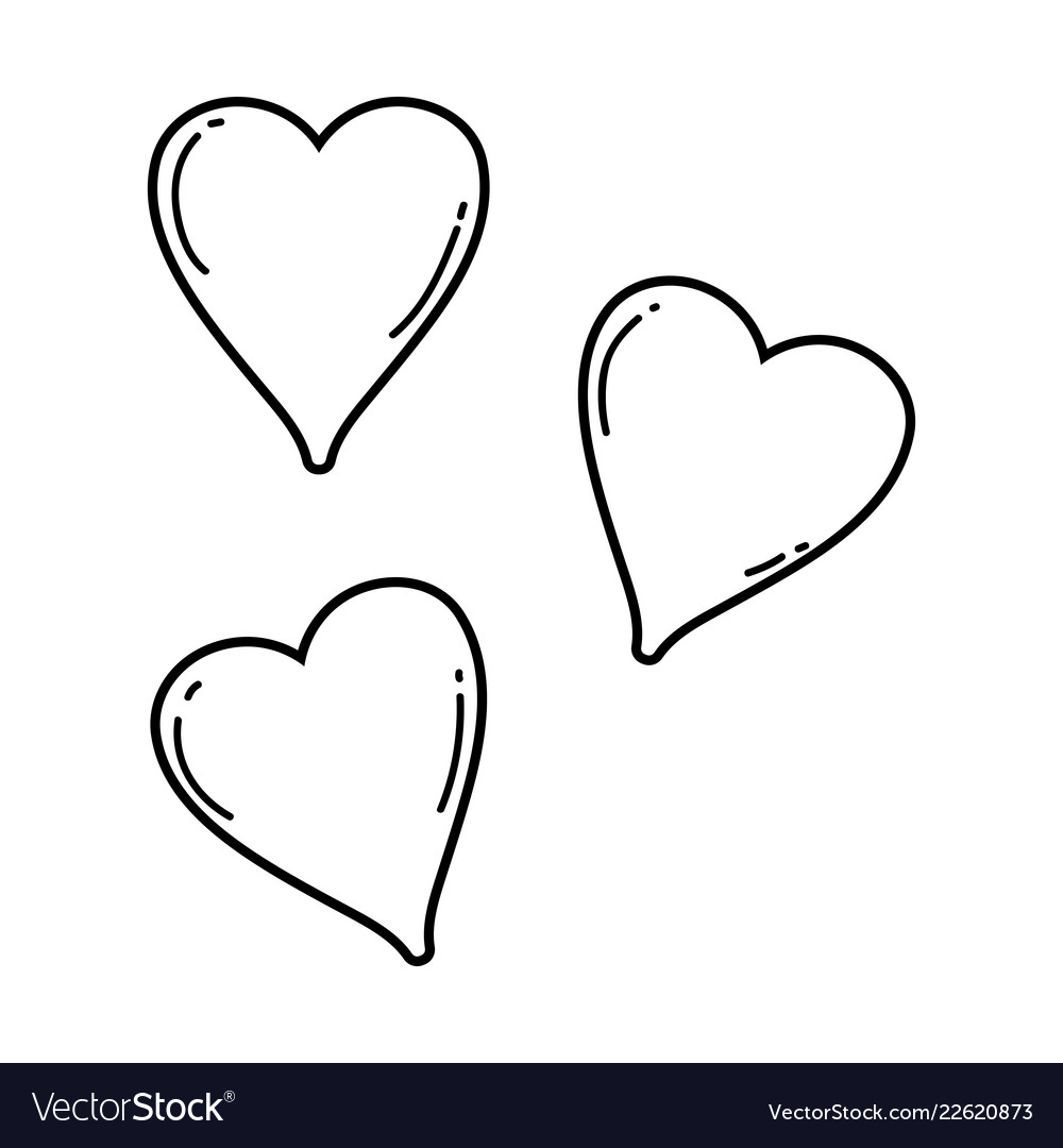 Cute hearts drawings black and white vector image