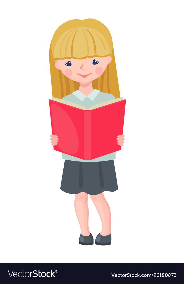 Cute school girl character reading book