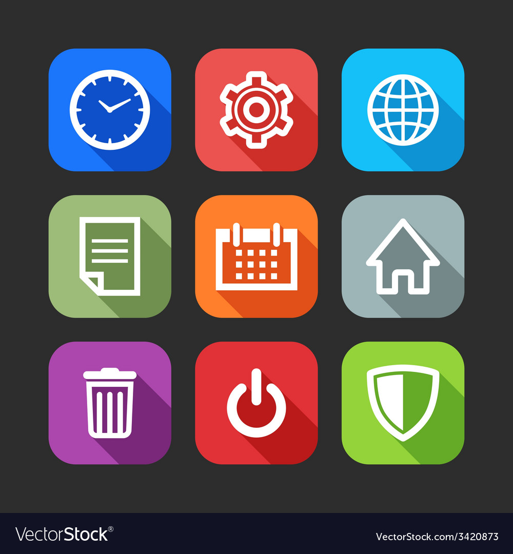 Flat icons for web and mobile applications flat