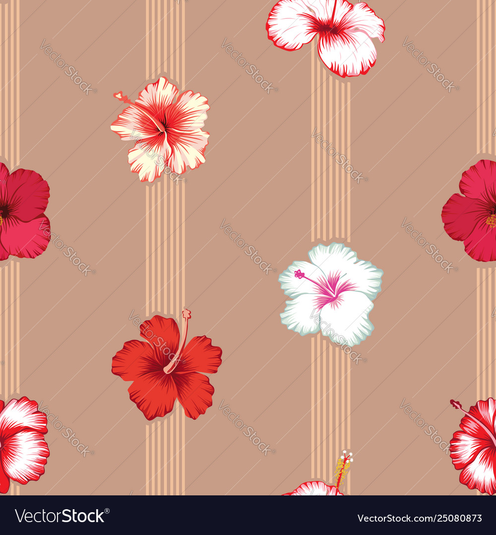 Geometric lines with hibiscus flowers seamless