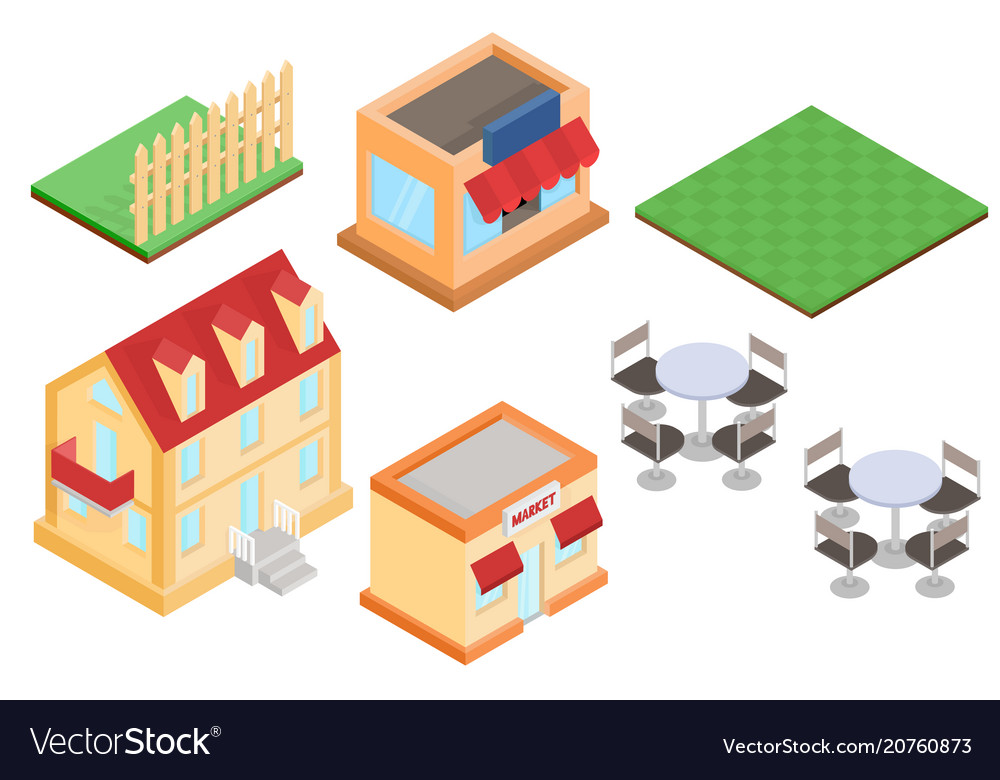 Isometric buildings and outdoor design elements
