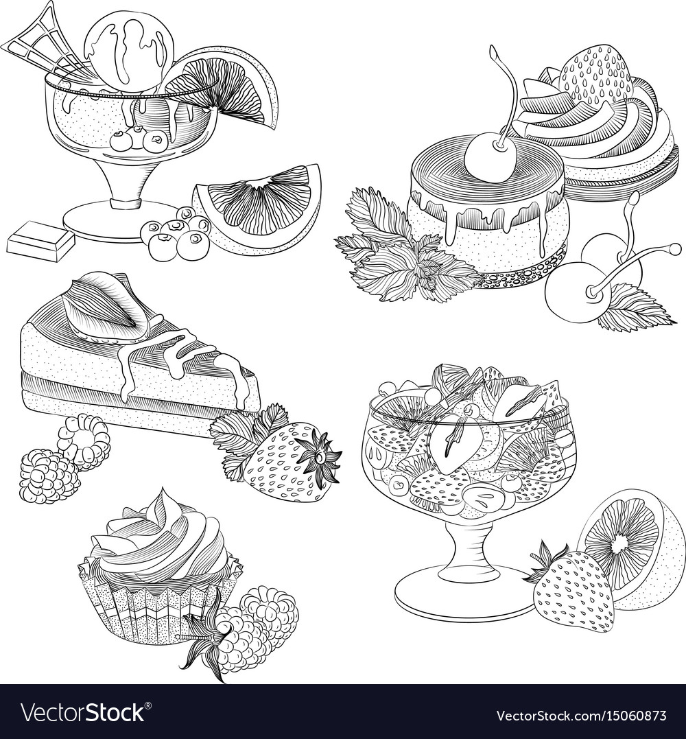 Line art various fruit desserts