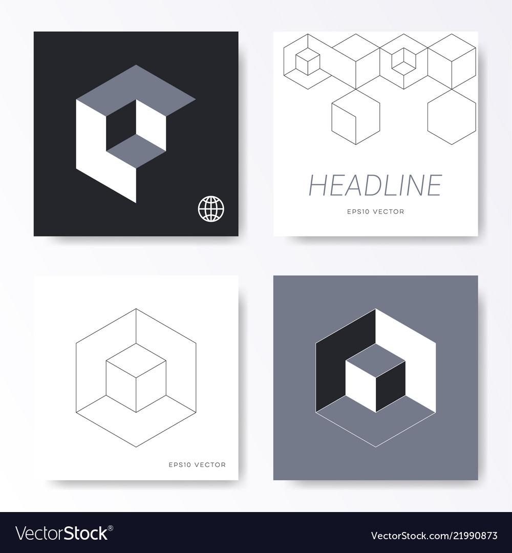 minimalist cube design card cover templates vector image