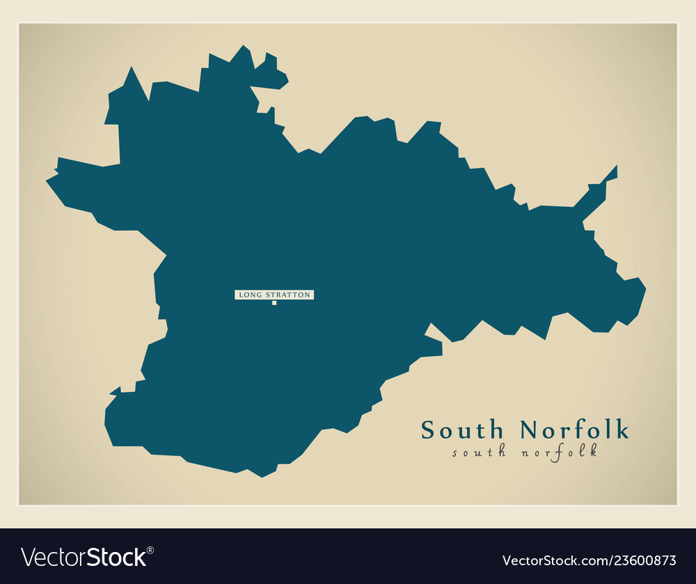 Map Of England Norfolk.Modern Map South Norfolk District England Uk Vector Image